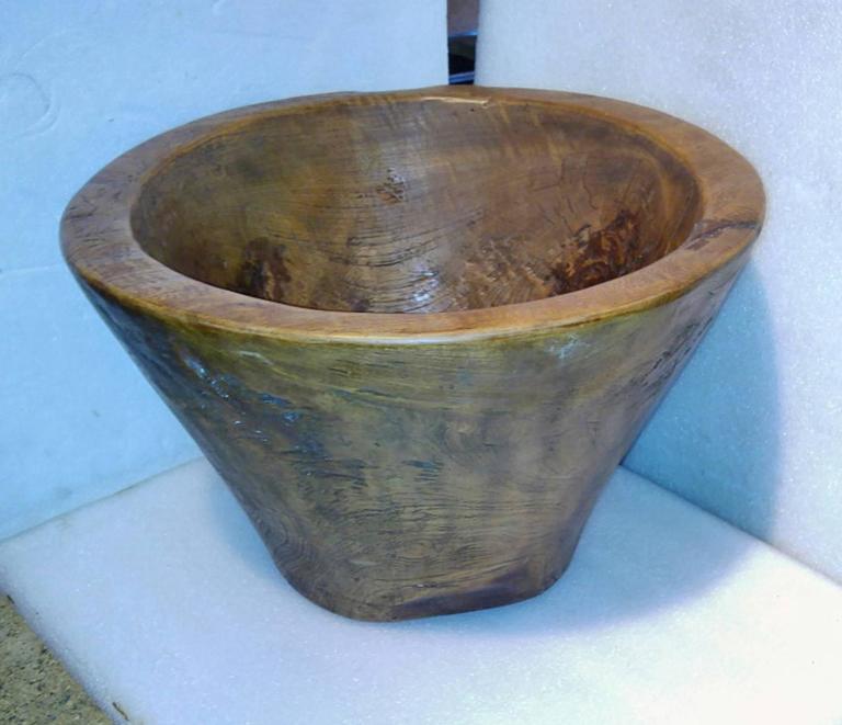 Large carved teak wood bowl for sale at stdibs