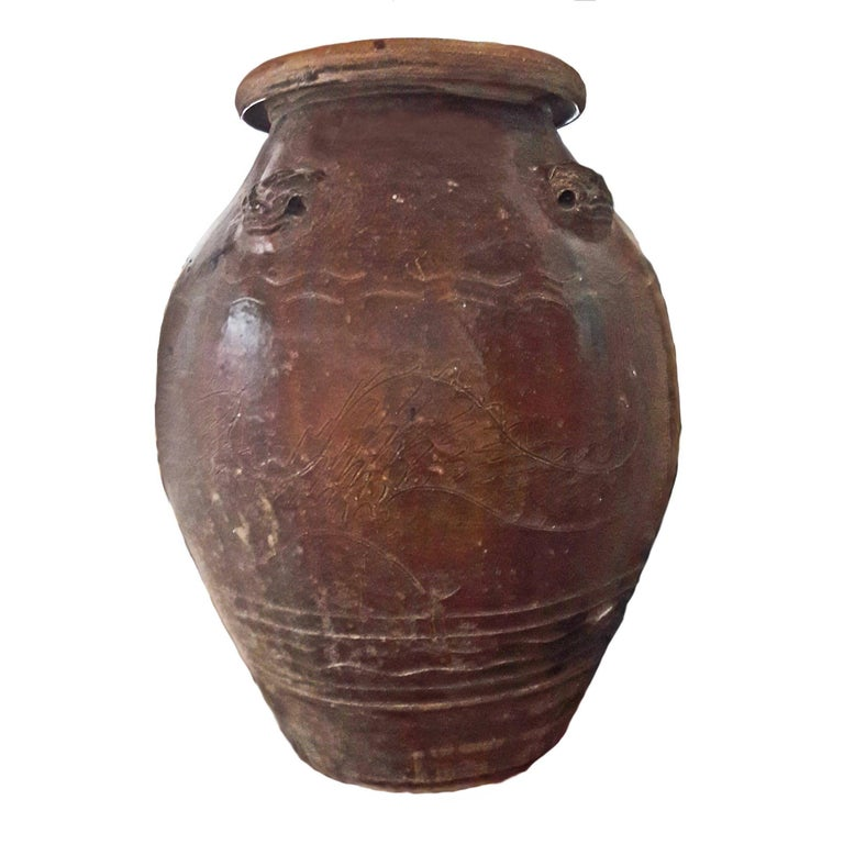 Glazed Terracotta Amphora / Jar from India, Early 20th Century