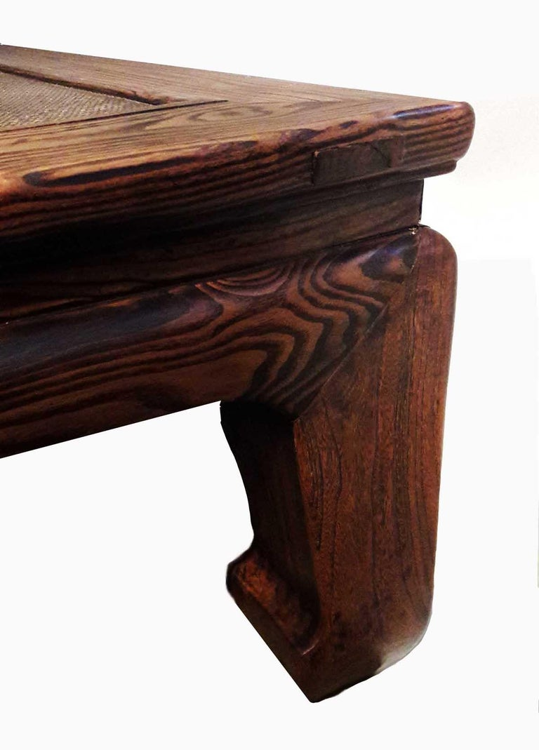 Polished 19th Century Elm Wood Coffee Table from China For Sale