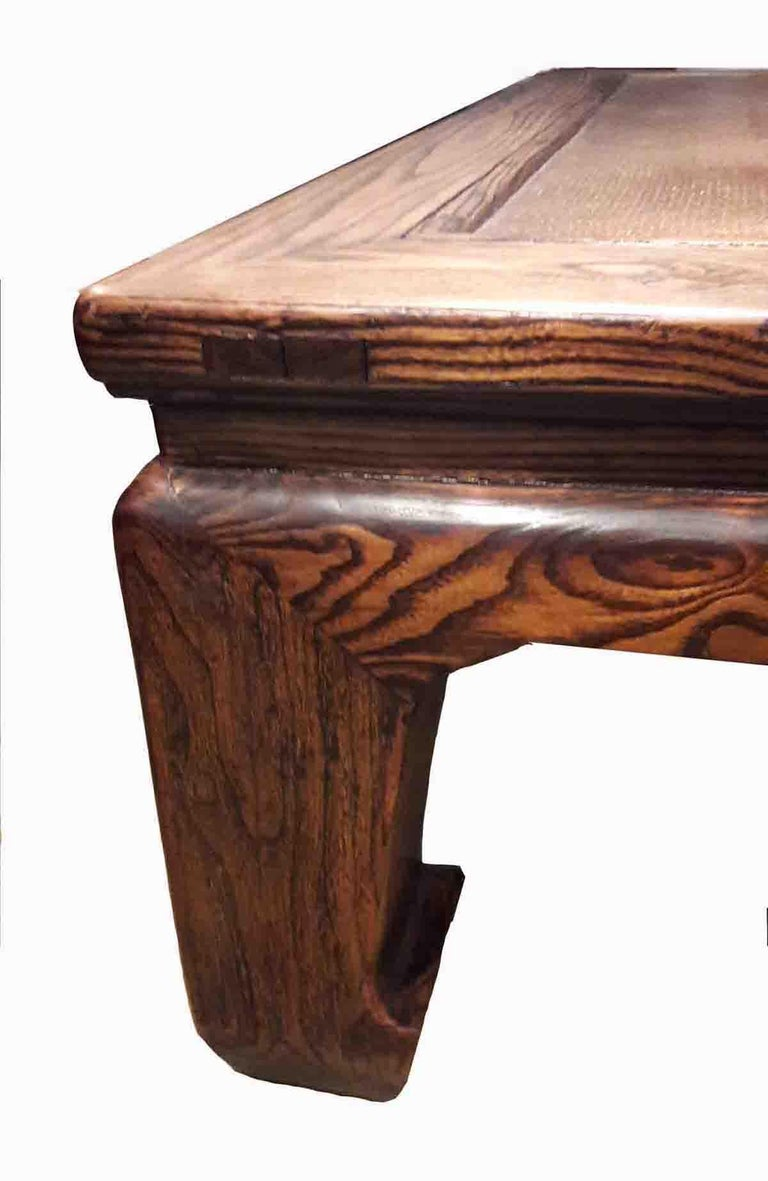 Chinese 19th Century Elm Wood Coffee Table from China For Sale