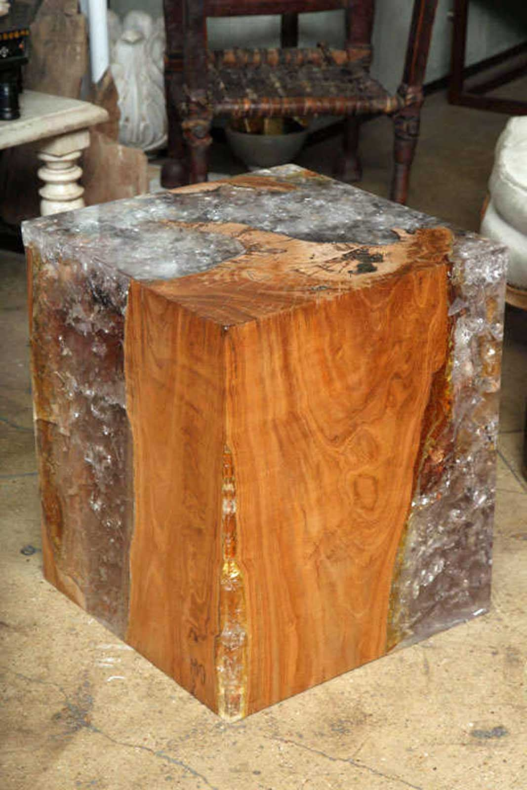 Captivating Resin And Teak Wood Cube Table. Petrified Wood Side Tables