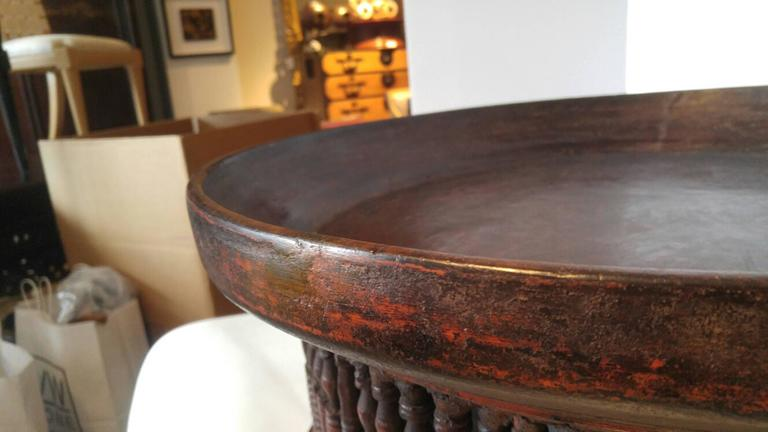 Antique Table Stand or Server with Spindled Base In Excellent Condition For Sale In New York, NY