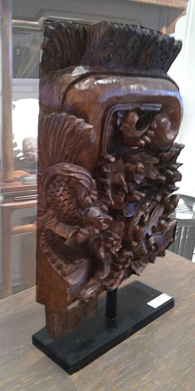 Architectural Detail in Hand-Carved Wood, on Stand, Contemporary 3