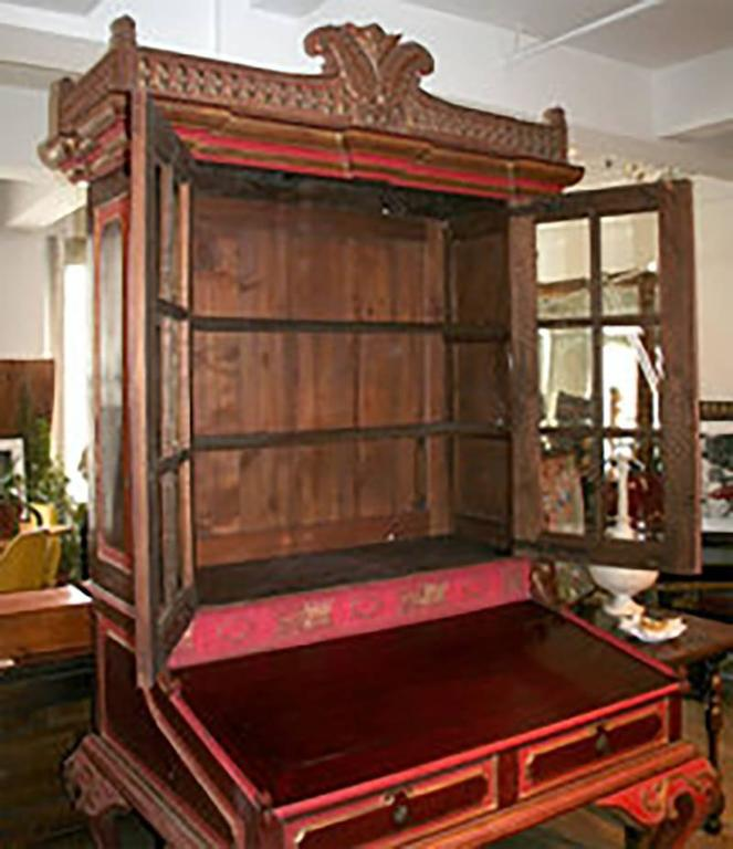 British Colonial Tall Antique Indonesian Secretary with Glass Panels For Sale