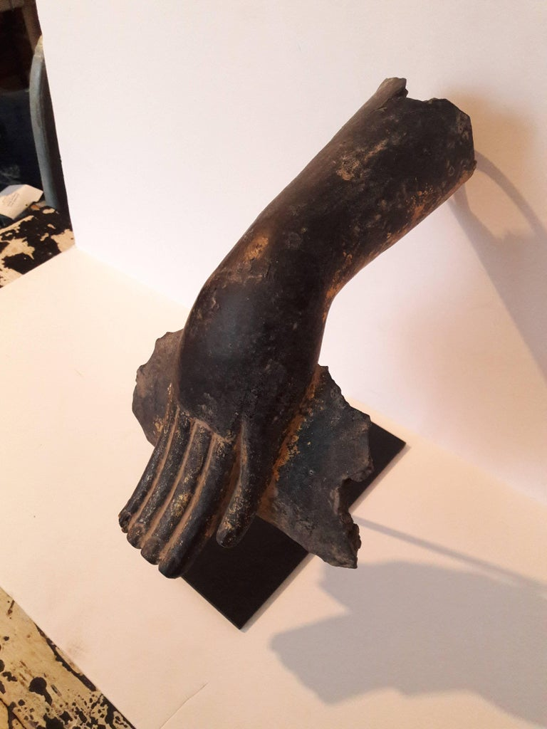 Wooden Buddha Hand with Leg Fragment In Good Condition For Sale In New York, NY