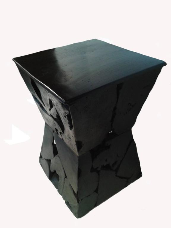 Modern Sculptured Hourgl Wood Side Table For