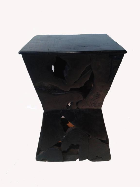 Indonesian Sculptured Hourglass Wood Side Table For Sale