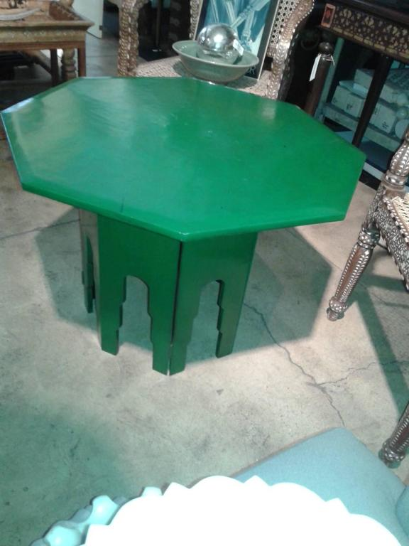 Lacquered Green Octagonal Side Table  For Sale