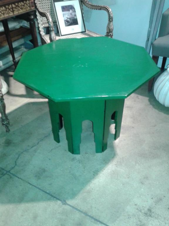 Anglo Raj Green Octagonal Side Table  For Sale