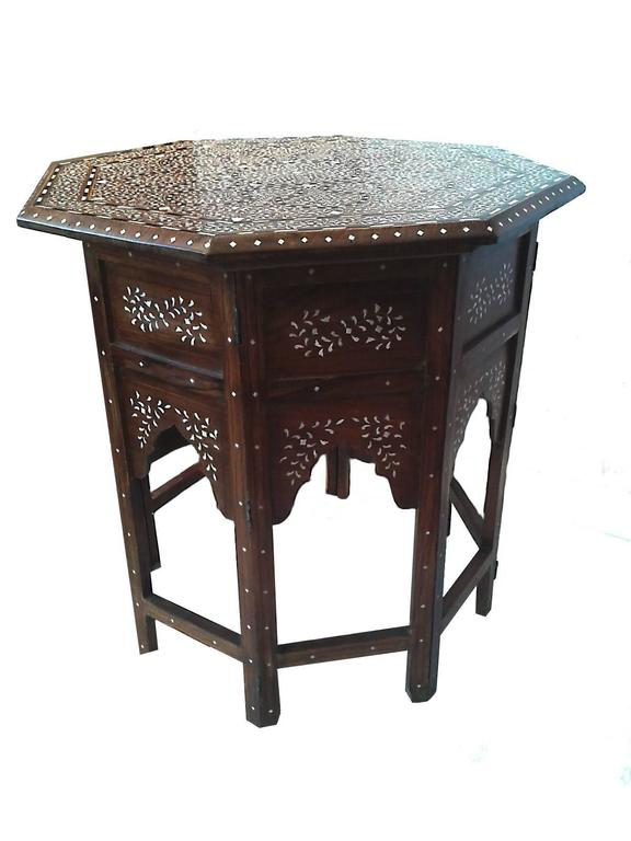 Bone Inlaid Wood Table From India For Sale At 1stdibs