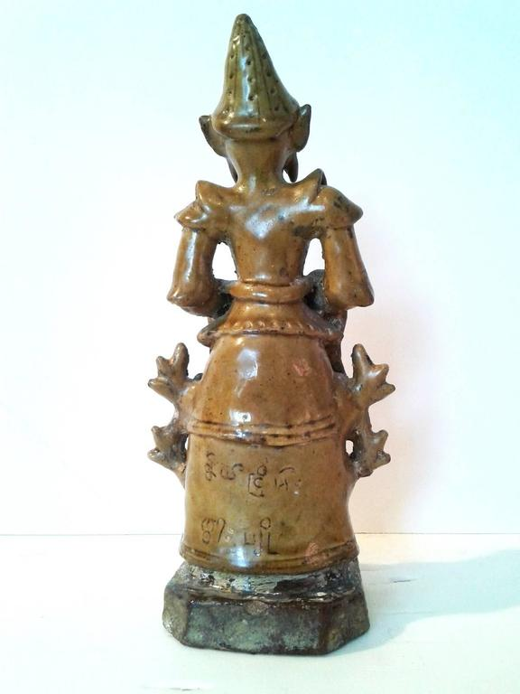 Gilt Thai Ceramic Angel Statue For Sale