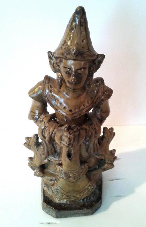 Burmese Thai Ceramic Angel Statue For Sale