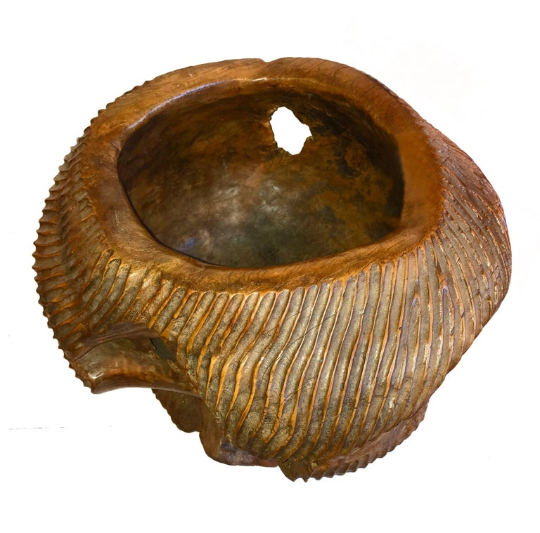 Arts and Crafts Carved Ironwood Bowl from Indonesia For Sale