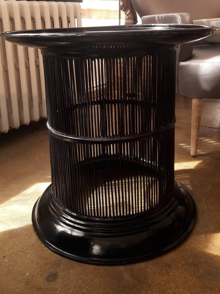 Arts and Crafts Black Lacquered Bamboo Drum Table from Thailand For Sale