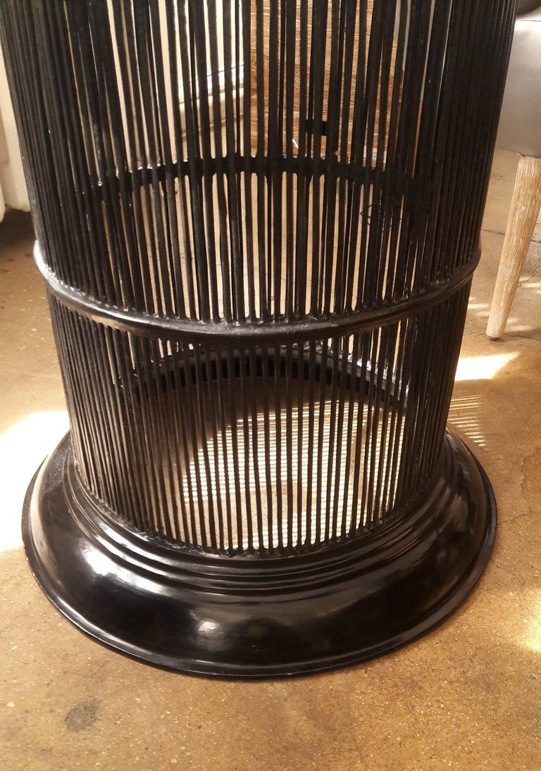 Black Lacquered Bamboo Drum Table from Thailand In Good Condition For Sale In New York, NY