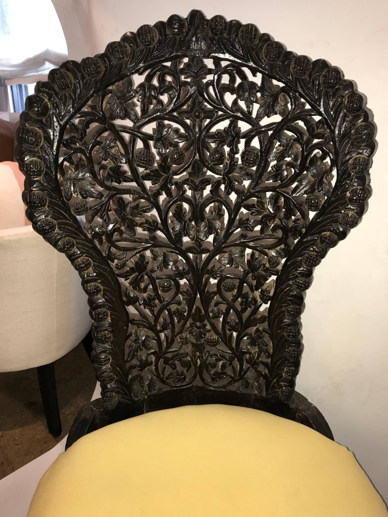 Early 20th Century Hand-Carved Rosewood Chairs from India For Sale 1