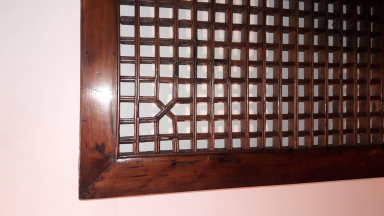 Lacquered Lattice Wood Panel, Suzhou, China, Early 20th Century For Sale