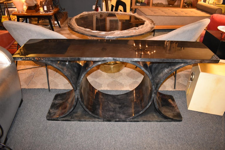 Mid-Century Modern Lacquered Parchment or Goatskin Console Table For Sale