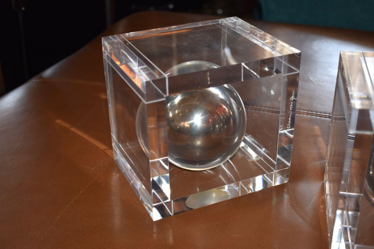 American Pair of Lucite Signed  Bookends by Charles Hollis Jones For Sale