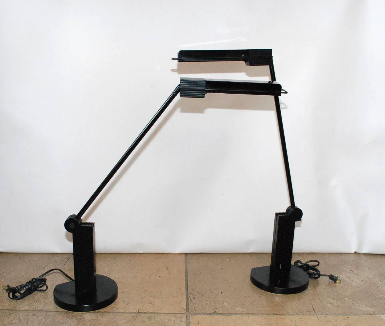 pair of artemide alistro table lamps by ernesto gismondi