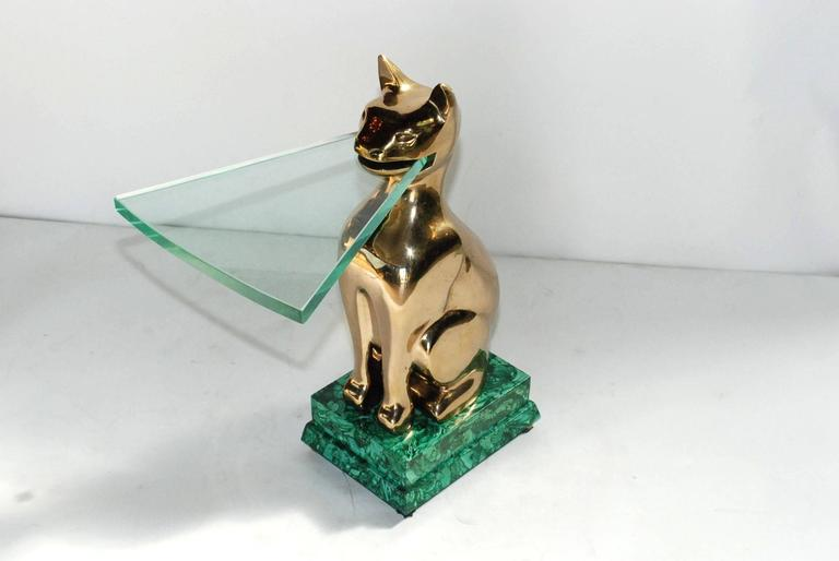 1984 signed and dated bronze cat with malachite base sculptural side table with 1