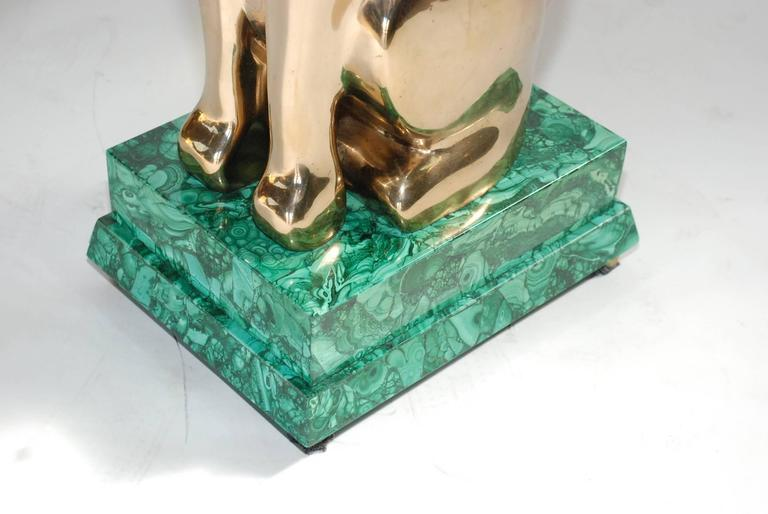 Mid-Century Modern Elegant 1984 Malachite and Bronze Side Table Signed by Lawrence Levine For Sale