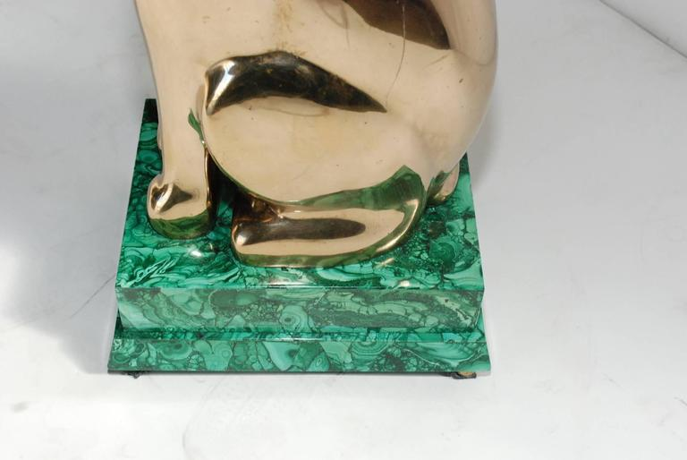 Elegant 1984 Malachite and Bronze Side Table Signed by Lawrence Levine In Good Condition For Sale In Los Angeles, CA