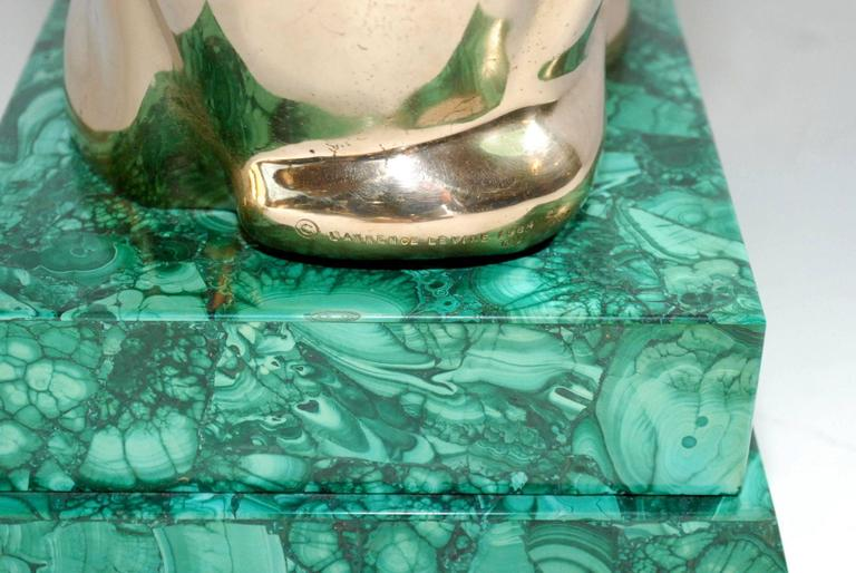 Elegant 1984 Malachite and Bronze Side Table Signed by Lawrence Levine For Sale 2