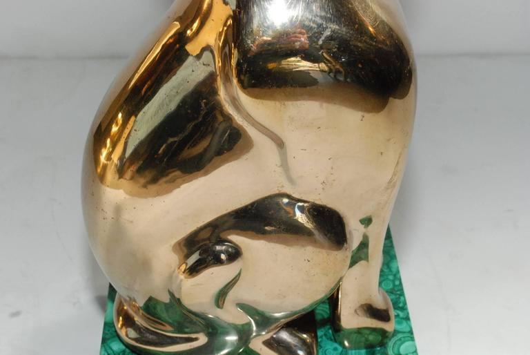 Elegant 1984 Malachite and Bronze Side Table Signed by Lawrence Levine 10