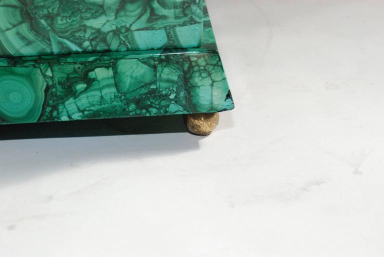 Elegant 1984 Malachite and Bronze Side Table Signed by Lawrence Levine 9