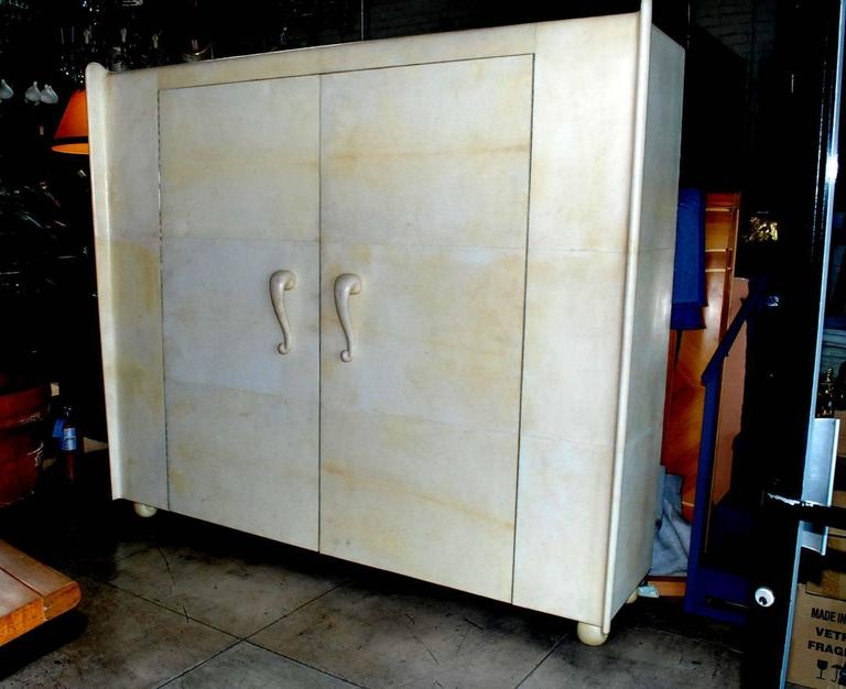 Elegant large Art Deco French armoire cover with goatskin. (no shelves inside cabinet)