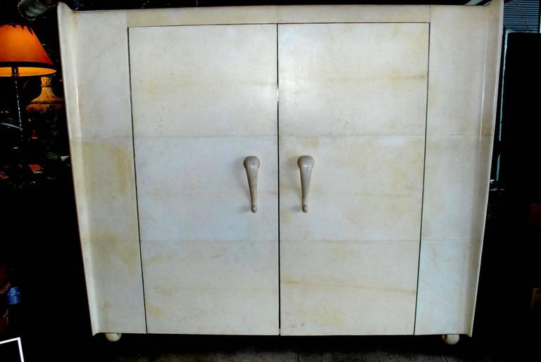 20th Century French Art Deco Style Parchment Armoire For Sale