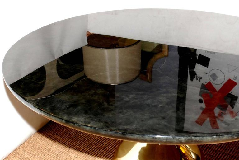 Great Parchment Dining or Center Table In Good Condition For Sale In Los Angeles, CA