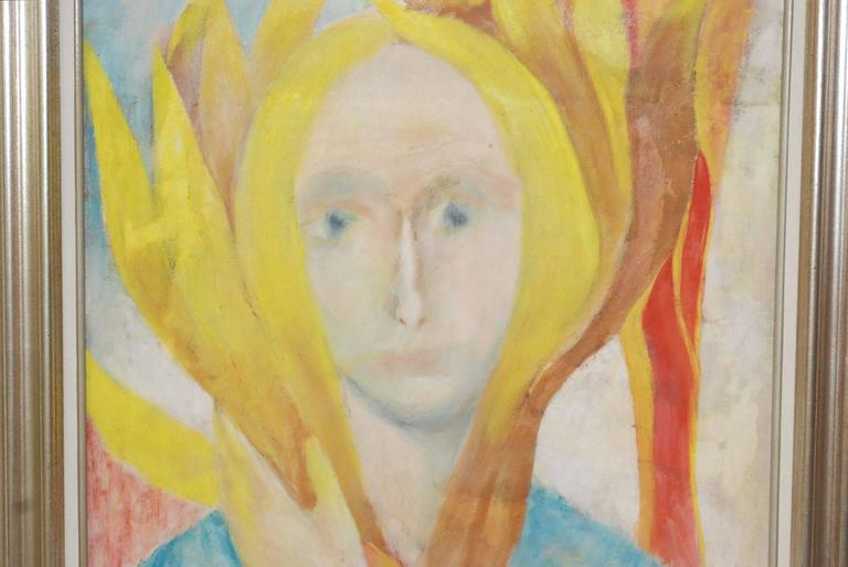 1960s oil on canvas painting of woman portrait signed by Louis Wolchonok. (American/New York 1893-1973) Please note: One small repair see details pictures. Louis Wolchonok studied at National Academy of Design, Cooper Union Art School, City College