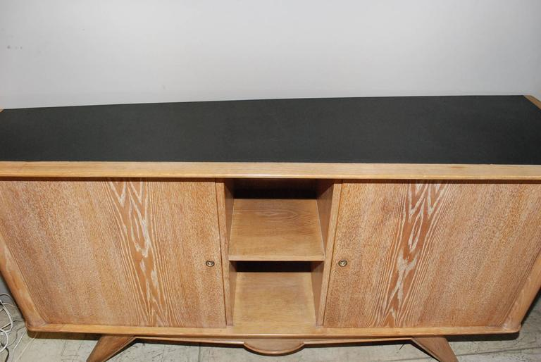 Brass 1940s French Cerused Credenza For Sale
