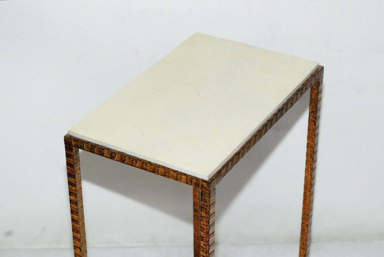 Mid-Century Modern Pair of Shagreen Side Tables