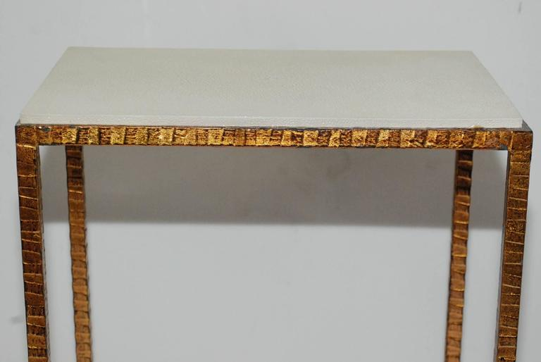 Copper Pair of Shagreen Side Tables