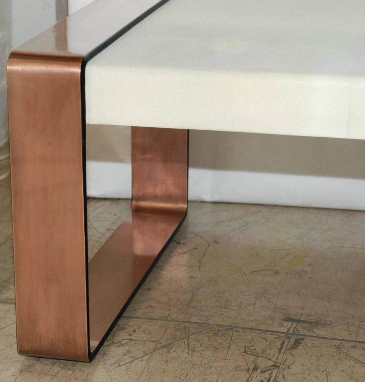 Copper Top Rectangular Coffee Table: Shagreen Coffee Table For Sale At 1stdibs