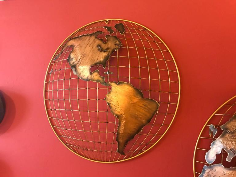 Mid-Century Modern Curtis Jere Globe Wall Sculpture For Sale