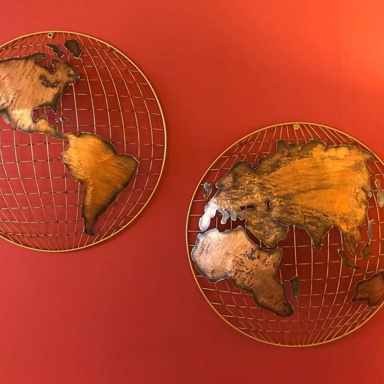 American Curtis Jere Globe Wall Sculpture For Sale