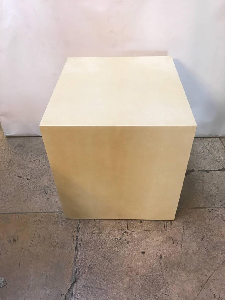 Contemporary Pair of Goatskin Side Tables