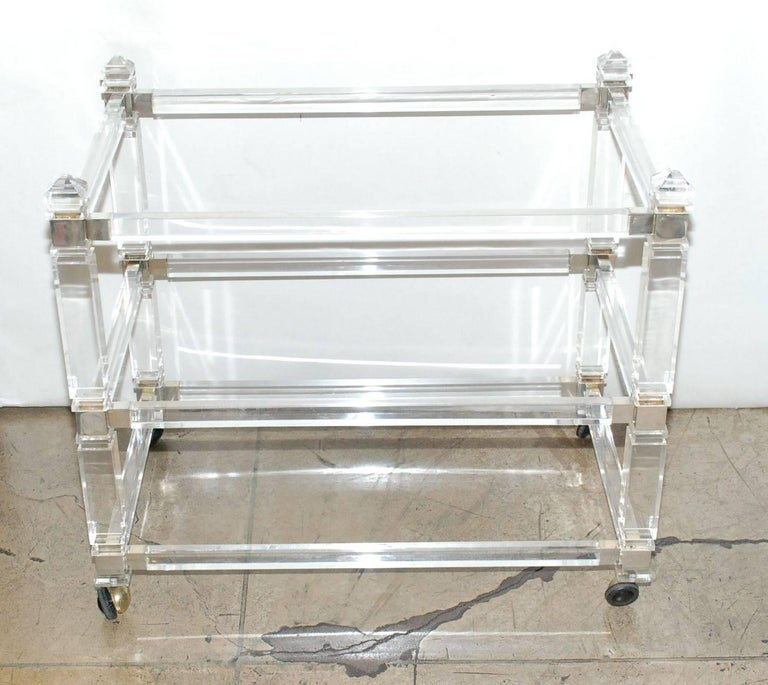 Lucite and nickel-plated three tiers bar cart by Charles Hollis Jones.