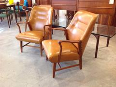 Camel Leather Arm Chairs from Denmark