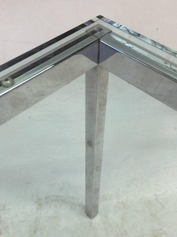 American Glass Top Florence Knoll Side Table For Sale