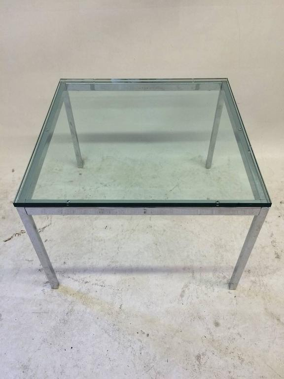 Modern Glass Top Florence Knoll Side Table For Sale
