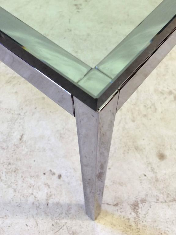 Glass Top Florence Knoll Side Table In Excellent Condition For Sale In Los Angeles, CA