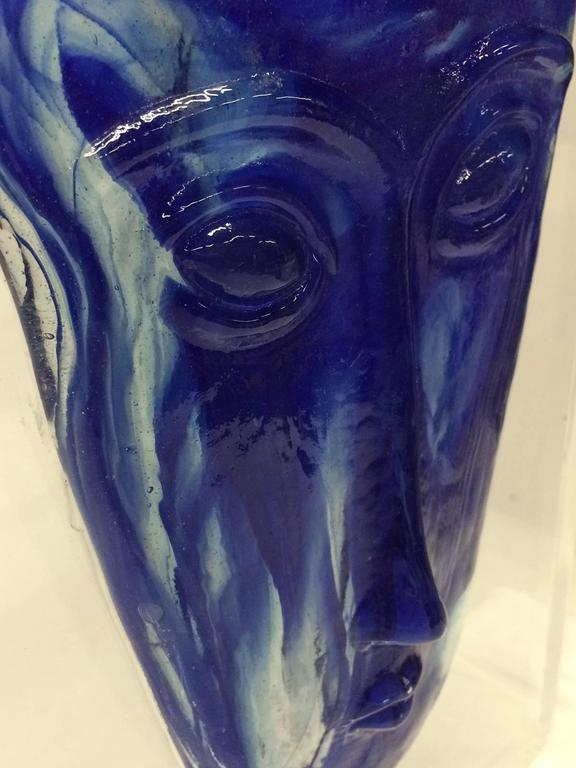 Blue Glass Mask In Lucite Base At 1stdibs