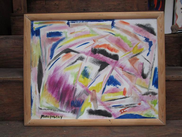 Mid-Century Modern Little Abstract Oil Painting on Board by Bert Miripolsky For Sale