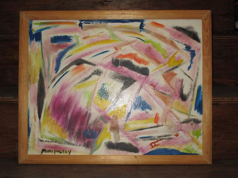 American Little Abstract Oil Painting on Board by Bert Miripolsky For Sale