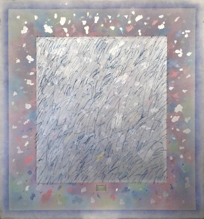 A playful large abstract painting at five and a half by six feet. Painting is made with acrylic, spray paint and one collage element, a